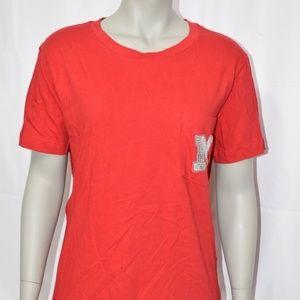PINK Nebraska Red Bling Foil Pocket T-Shirt NWT